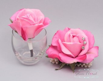 Hot Pink Rose Wrist Corsage and Boutonniere Set. Real Touch Flowers. Caroline Rose Collection