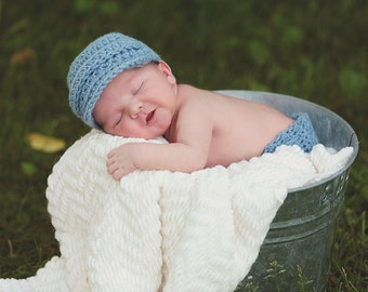Blue Baby Boy Crochet Clothes - Crochet Outfit - Diaper Cover Hat Set - Newborn Photo Outfit - Newborn Boy -Crochet Hat - Baby Pants  - Gift