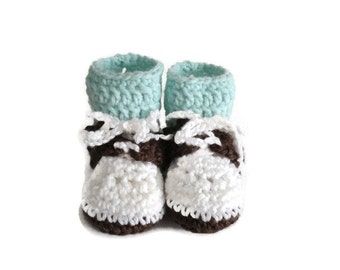 Crochet Oxford Saddle Shoes Booties Made from Worsted Weight Yarn for Baby White Brown Light Mint Green Socks Size 3-6 Months Gender Neutral