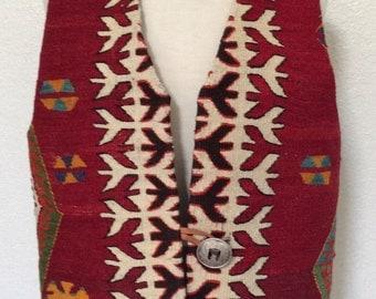 Vintage Turkish Kilim Vest -  Red - Large