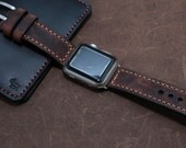 VINTAGE WASHING Leather Watch band - Hand Stitched - 22mm