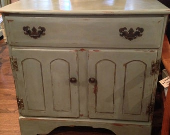 vintage cabinet . rustic hand painted small storage . bathroom or kitchen furniture . farmhouse style . annie sloan chalk paint