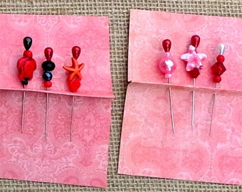 Designer beaded pins for your pinboard made with a collection including two colorful starfish, and a turtle with pearl head pins for display