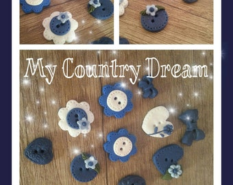 """Handmade Buttons """"romantic in blue"""" - polymer clay buttons."""