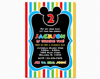 Mickey Mouse Clubhouse Birthday Party Invitation, Printable Mickey Mouse Invitation, Red Blue Green Yellow Stripes, Printable, Digital File