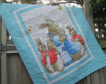 Peter Rabbit Baby Quilt, Boy Quilt, Beatrix Potter Baby Quilt, Peter Rabbit Crib Skirt, Peter Rabbit Dust Ruffle, Baby Boy Bedding Set