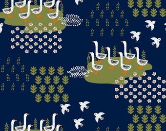 Windham Gardening Navy Ducks Fabric - 1 yard