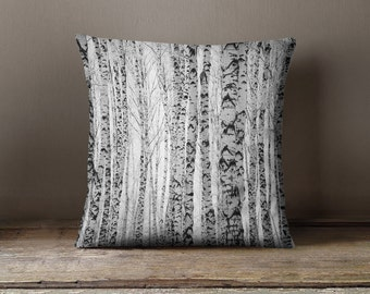 White Birch Trees Forest Decorative Throw Pillow Case -Black and White/ Photography/Nature/ Winter/ Home Decor/ Trees