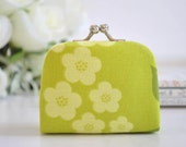 Cherry Blossom in Chartruese - Tiny Kiss lock Coin Purse/Jewelry holder