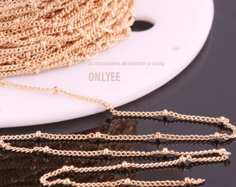 5yd-2mm(Ball)X0.8mmBright Gold plated Brass Ball Chain For necklace chain, link chains (N140G)