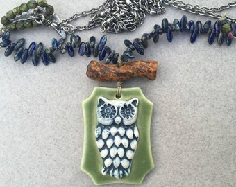 Gorgeous Ceramic Owl by Nancy Adams with ceramic twig by Karen Totten on linen thread with czech glass, Green Girl Studio Moon button