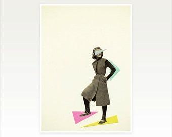 Geometric Portrait Art, Female Figure, Retro Wall Art - Shapely Figure