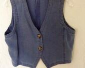 Vintage French Connection Linen Vest / Blue / 80's / Grunge / Denim / Tie Back / Embroidered