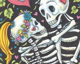 Day Of The Dead Lovers Skeletons Fantasy Art ACEO Susan Brack Ebsq