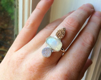 Rainbow Moonstone & Aura Druzy Quartz Crystal Sterling Silver Ring - Size 6.5