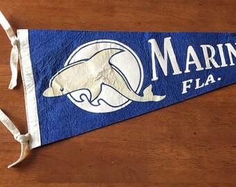 Vintage Marineland Florida Dolphin Felt  Pennant // Travel Souvenir
