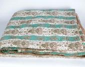 Antique  French Quilt. Soft Green Stripe Pique Bedcover.  Comforter Bedspread