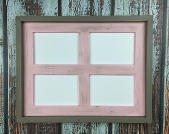 Multi Opening Picture Frame, Pink and Gray, Rustic Weathered Collage Frame for- four 5 x 7 Photos or Prints, Home Decor, Rustic Home Decor