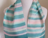 """RESERVED for Toni Made in France Beautiful Vintage Green Blue 2 Layer Silk Scarf  - 7"""" x 35"""" Long (JF8627)"""