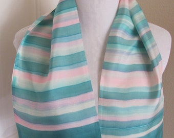 "Made in France Beautiful Vintage Green Blue 2 Layer Silk Scarf  - 7"" x 35"" Long (8627)"