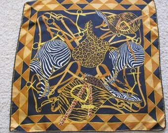 """Gucci // Small Black Gold Animal Print Silk Pocket Scarf // 17"""" Inch 44cm Square // Best of the Best"""