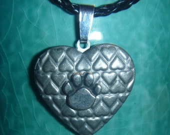 Heart patterned locket with lead free pewter paw black cord