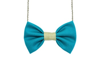 Emerald Gold - Bow Tie Necklace, Football Fan Accessory, Women Bowtie, Emerald Green and Golden Yellow