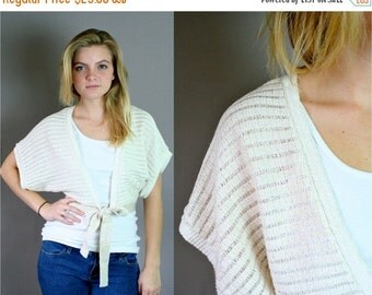 ON SALE Vintage 80s Gold Cropped Tie Front Sweater