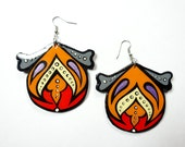 Large Handpainted Modern Turkish Floral Inspired Earrings In Bright Orange, Red and Ivory