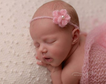 Pink Mohair wrap with headband, newborn photo prop, wrap and headband set, photography prop, girl photo prop