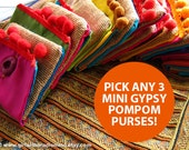 Small Purses Set of 3 Gifts - Boho, Mexican, Tribal, Gypsy, Hippie Happy Pompom - For Cards and Cash