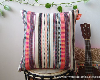 Pink Mexican Pillow with Colorful Stripe - Happy Boho Woven Cushion Covers