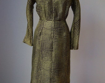 Late 50s 60s Miss Brooks Tailored Silk Hourglass Dress // Animal Print // Olive and Black // Medium Large // Mint
