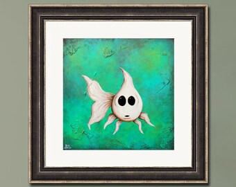 PRINT or GICLEE Reproduction -- Fish Artwork, Bathroom Art, White Fish, Limited Edition Signed Print -- Casper
