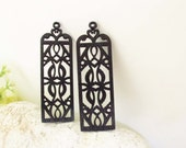 WP24/ #14 Black /Wood Classical style Pairs for Earring / Laser Cut rectangle Shape Wooden Charm/ Pendant/ Filigree Ethnic Wood Dangle