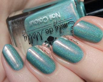 "Nail polish - ""Holo Patina"" light sage green linear holographic polish with pink shimmer"