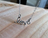 Love necklace, sterling silver script love word, valentines gift