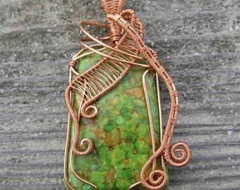 Wire Wrapped Mosaic Turquoise Pendant