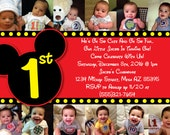 Custom Mickey Mouse Invitation OR Thank You Card -12 months of photos - baby mickey - one year of pictures bday card Mickey Mouse Clubhouse