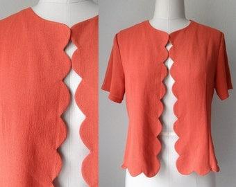60s Retro Mod Burnt Orange Scalloped Hem Bolero Top size Medium