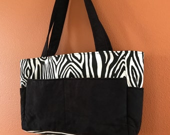 Reese1560E  Zebra Print Cotton and Ultra Suede Purse, Knitting Bag, Tote, Totes, Purse, Purses, Handbag, Handbags , Market, Up Cycled Fabric