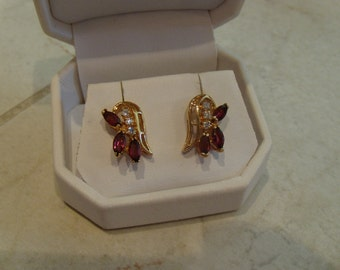Vintage Garnet and CZ Post Earrings in Gold Plate