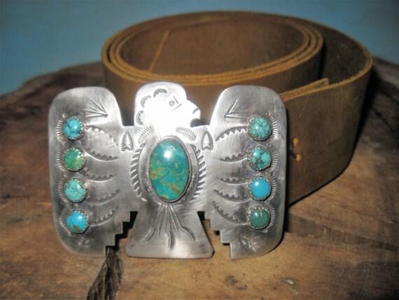 Vintage Royston Turquoise Taos Concho Handmade Thunderbird