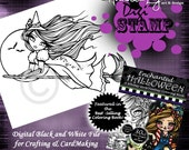 PRINTABLE Digi Stamp Witch Moon Enchanted Halloween Coloring Page Fun Fantasy Art Hannah Lynn