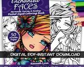PDF DIGITAL Printable Coloring Book Enchanted Faces Pocket Size (Half Sheet) All Ages Fantasy Mermaid Fairy Art by Hannah Lynn