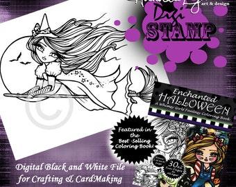 PRINTABLE Digi Stamp Witch Moon Enchanted Halloween Coloring Page Fun Fantasy Art Hannah Lynn