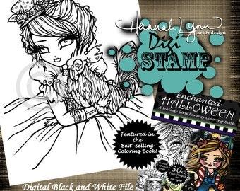 PRINTABLE Digi Stamp Zombie Rooster Girl Enchanted Halloween Coloring Page Fun Fantasy Art Hannah Lynn