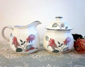 Vintage Mikasa Silk Flowers F3003 Cream and Sugar Set - Stoneware Covered Sugar and Creamer - Collectable - Cottage Chic- Bobann Kitchen