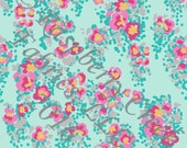 Aqua Yellow Pink and Grey Abstract Floral 4 Way Stretch Jersey Knit Fabric, Club Fabrics