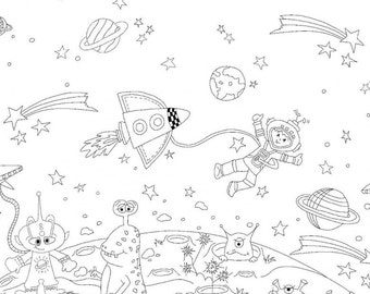 Space Adventures Color Me Cotton Fabric, Color Me by Hayley Crouse for Michael Miller, 1 yard